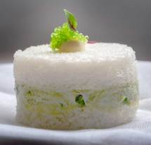Crab and avocado sandwich with crème fraîche and chives