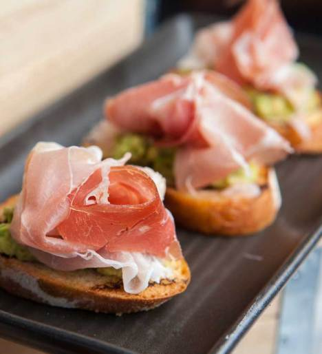 Bruschetta of avocado & prosciutto - supplied photo