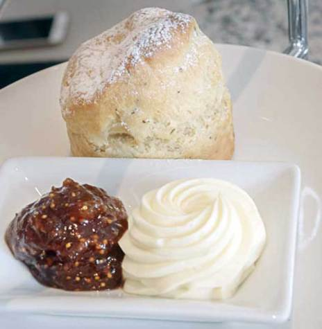 Scones with truffle Chantilly, fig jam