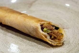 Peking duck spring rolls, hoisin sauce