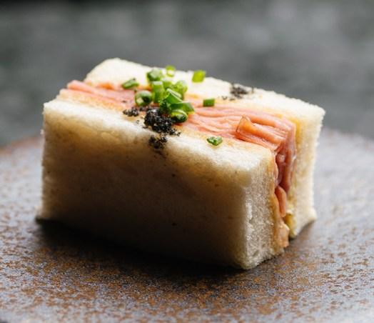 Mortadella finger sandwich, fine herbs, red wine vinegar