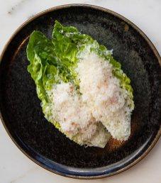 Prawn Caesar with Batavia lettuce and parmesan