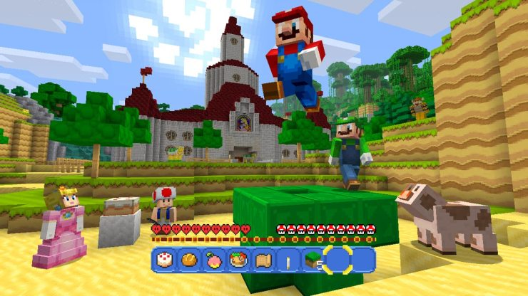 Super Mario e Minecraft no Super Mario Mash-Up Pack para Minecraft: Wii U Edition