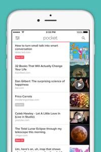 Apps de organização. Pocket
