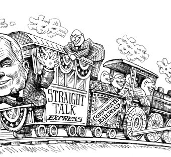 "cartoon showing the ""straight talk express"" on the corporate railroad"