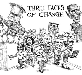 """cartoon showing the """"three faces of change"""""""