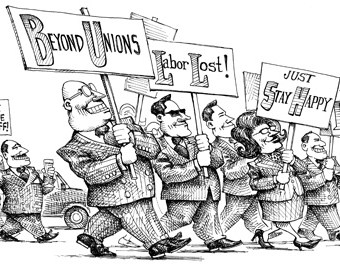 Cartoon showing corporate higher ups campaigning against unions