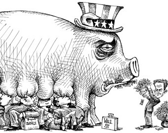 cartoon showing uncle sam as a giant pig being milked by banks