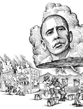 Cartoon showing obama as a stormcloud about to put out fires