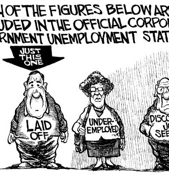 Cartoon showing that the under employed arent represented in unemployment statistics