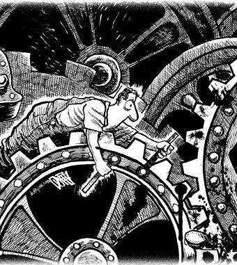Cartoon showing a worker stuck in massive gears