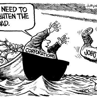 Cartoon showing corporations getting rid of jobs instead of profites