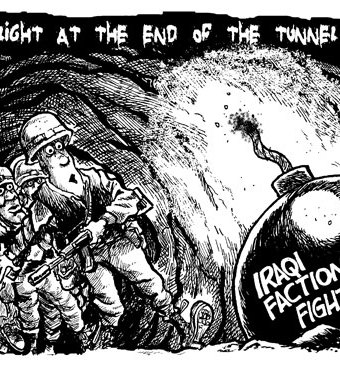 Cartoon showing iraq factional fighting as the light at the end of the tunnel for soldiers