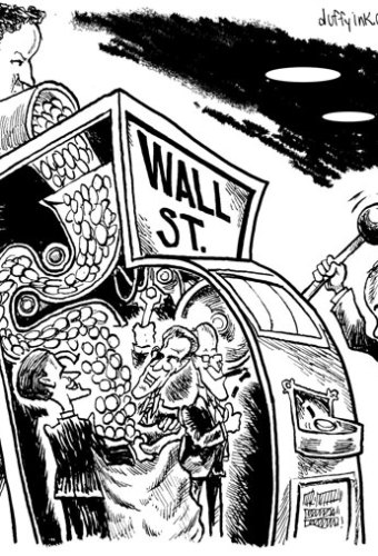 Cartoon representing Wall st as a slot machine that cheats the player