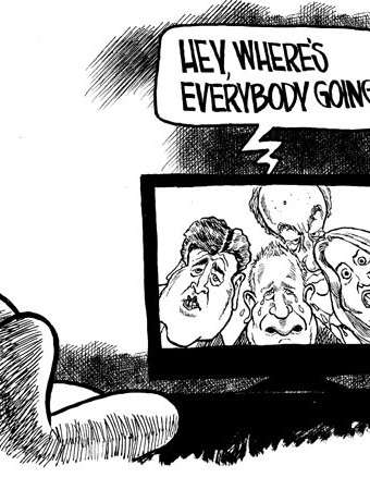 Cartoon showing TV news personalities desperately crying out of a TV screen