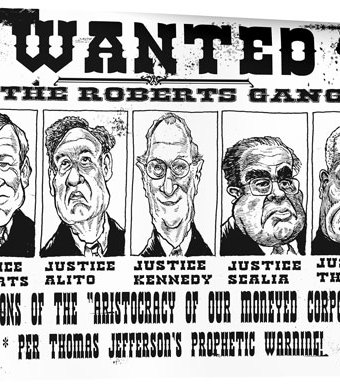 """Cartoon showing a wanted poster with the """"Roberts Gang"""" on it"""