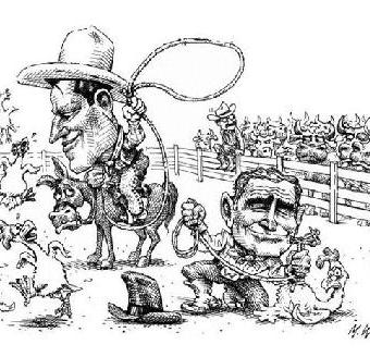 cartoon showing bush and gore wrangling chickens