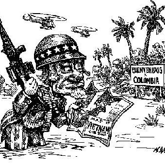 Cartoon showing a soldier mistaking colombia for vietnam