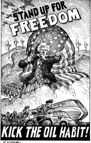 cartoon telling people to kick the oil habit and stand up for freedom