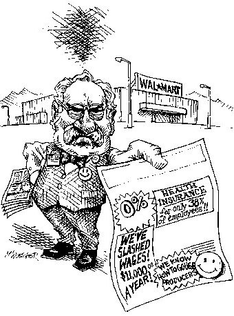 Cartoon showing that walmart employees get 0% health insurance and low wages