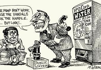 cartoon showing corporations taking over public water