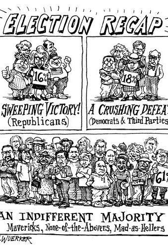 Cartoon showing satirical election recap