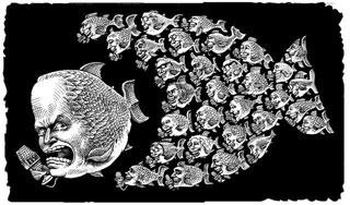 Cartoon showing fox news as an angry school of fish
