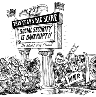 Cartoon showing social security being bankrupt as this years big scare