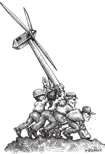 Cartoon showing people putting up a windmill