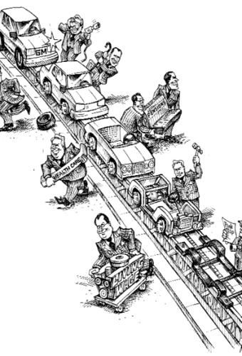 cartoon showing an unfair reverse conveyor belt