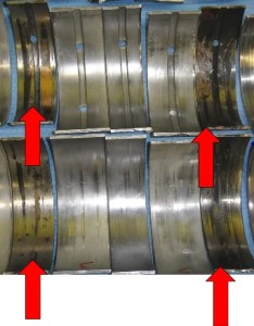 Red arrows point to bearings experiencing catastrophic failure the blue arrow shows number seven bearing set starting note all show also main analysis rh highwayandheavyparts