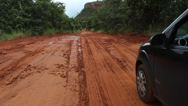 mud road in farmland - outback Goiás state in Brazil