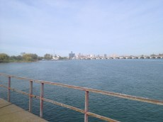 A view of the Ren Cen across the Detroit River from a pier on Belle Isle