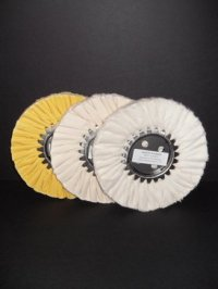"""8"""" Buffing Wheel Set (One each: White, Yellow, Flannel)"""