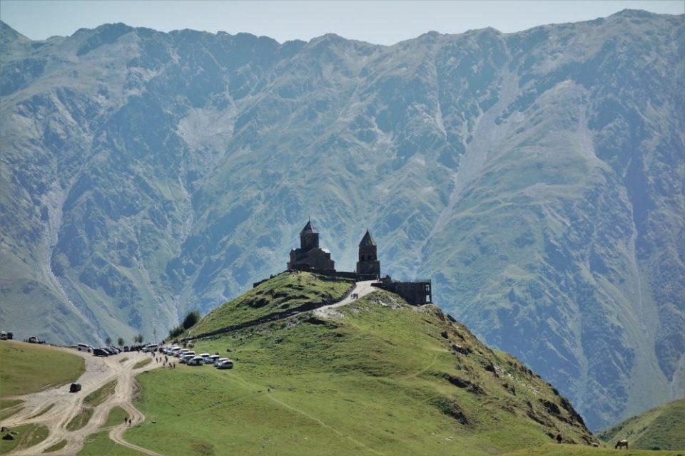 Gergeti Trinity Church just beneath the mighty Kazbegi mountain.
