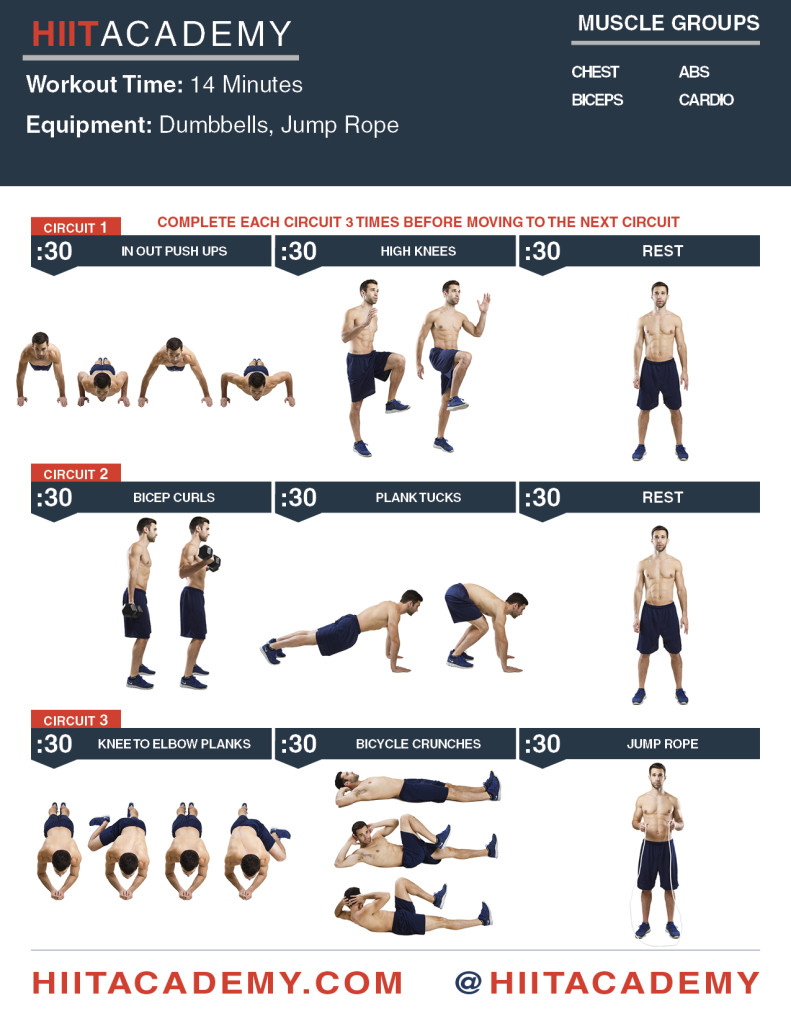 Chest Bicep Ab HIIT Workout