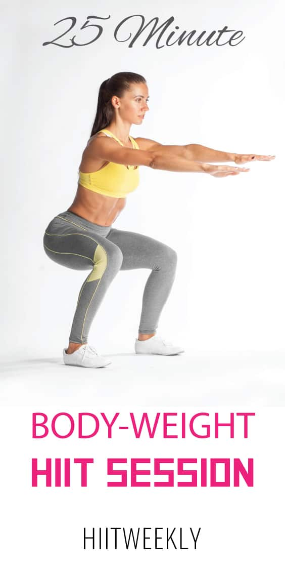A fast paced at home workout that you can do in less than 25 minutes with step by step instructions. No Equipment at home workout for women.