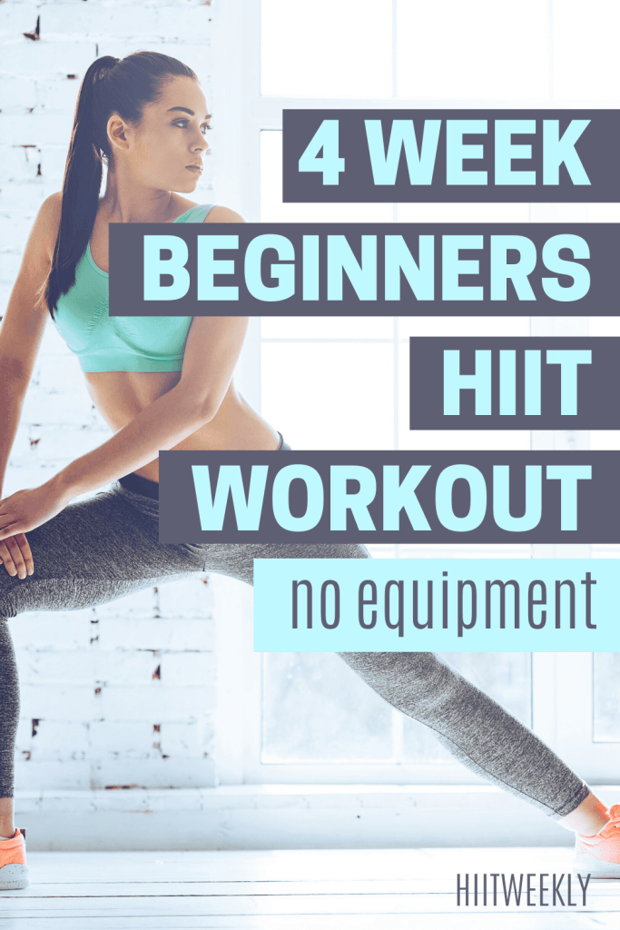 Improve your fitness and lose weight with this 4 week beginners HIIT workout program. 4 week progressove workout plan to lose weight and get fit with no equipment at home.