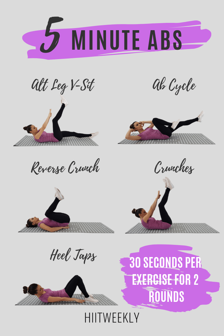 Get flat toned abs with this super quick 5 minute ab workout for women using a mix of exercises to work your entire core. Abs workout for women.
