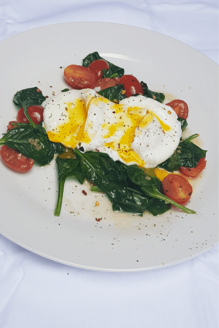 Poached Eggs with Garlic Sauteed Baby Spinach and Cherry Tomatoes