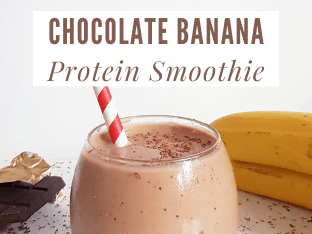 This smooth and silky chocolate and banana protein smoothie makes for the idea breakfast, post workout shake or mid-afternoon snack that is packed full of healthy nutrients. #proteinsmoothie #proteinshake