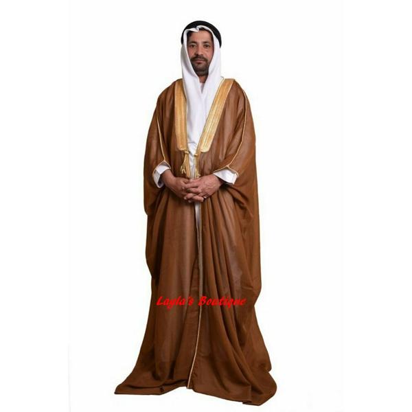BROWN BISHT CLOAK ARAB DRESS THOBE SAUDI MENS ROBE EID