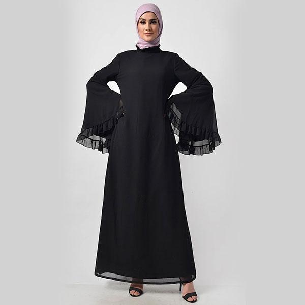 Modest Black Trendy Victorian Neck Abaya Dress - Black
