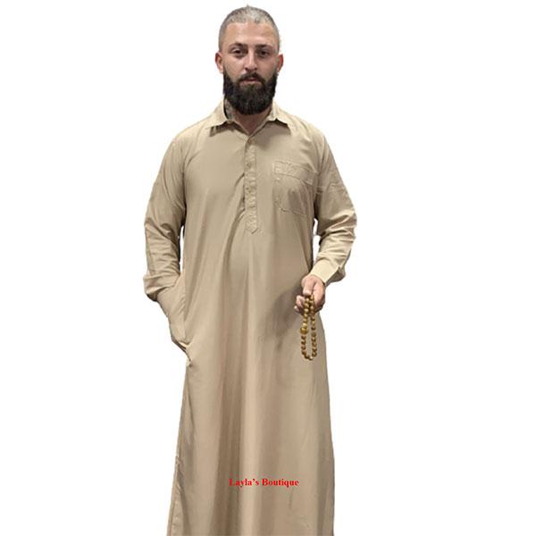 Men Bisht Arabic Dress Cloak Islamic Thobe Men