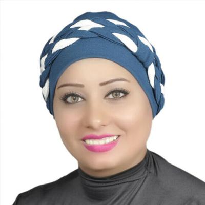 Women Turban Two-Tone Double Braid Cotton Spandex Blend – Navy-blue