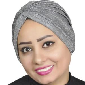 Turban glitter fabric, sparkling turban, women turban, chemo – Black-silver