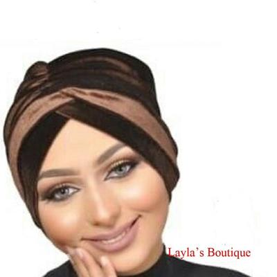 Turban, Headwrap, Fashion Turban Cap -Turban Headband Velvet in Coffee-brown