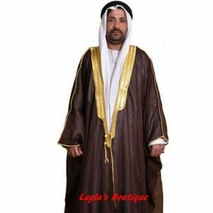 DARK BROWN BISHT CLOAK ARAB DRESS THOBE SAUDI MENS ROBE EID