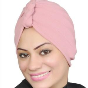 Women Turban Muslim Turban Head Hijab Turban Wrap Cover Cotton Spandex Blend – Pink