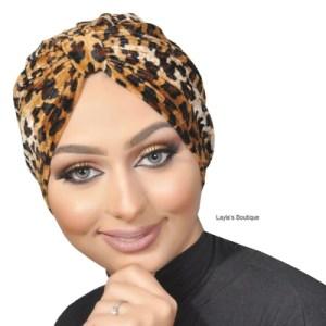Leopard Print Turban in Velvet- Women's Fashion Turbans – Animal Print Hair Wrap
